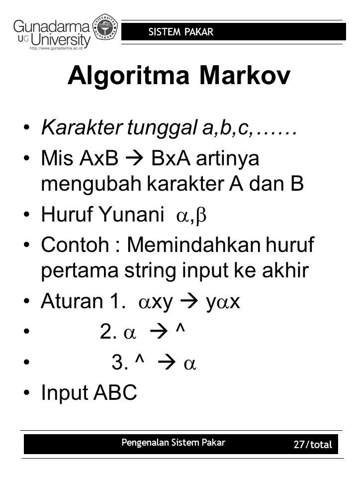 SISTEM PAKAR Pengenalan Sistem Pakar 27/total Algoritma Markov Karakter tunggal a,b,c,…… Mis AxB  BxA artinya mengubah karakter A dan B Huruf Yunani ,  Contoh : Memindahkan huruf pertama string input ke akhir Aturan 1.