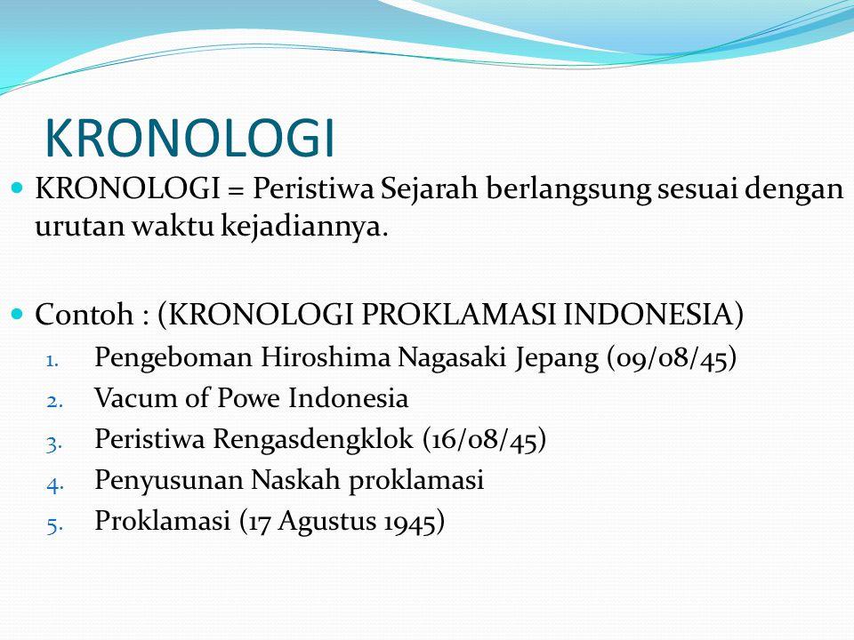 KRONOLOGI KRONOLOGI = Peristiwa Sejarah berlangsung sesuai dengan urutan waktu kejadiannya. Contoh : (KRONOLOGI PROKLAMASI INDONESIA) 1. Pengeboman Hi