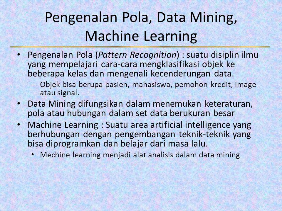 Pengenalan Pola, Data Mining, Machine Learning Pengenalan Pola (Pattern Recognition) : suatu disiplin ilmu yang mempelajari cara-cara mengklasifikasi objek ke beberapa kelas dan mengenali kecenderungan data.
