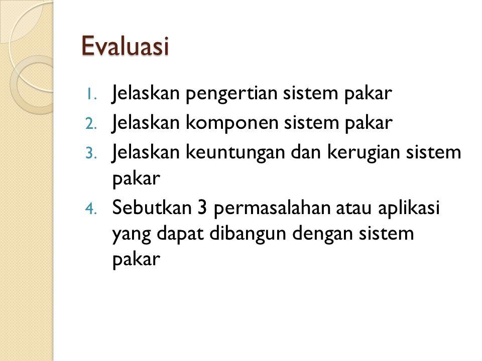 Tugas Paper tentang salah satu aplikasi Sistem Pakar dalam bidang Engineering Abstraksi (Indonesia) Pembahasan (1 lembar): manfaat, metodologi/teknik yang digunakan, jumlah rule, aspek-aspek teknis lainnya Menentukan Kategori