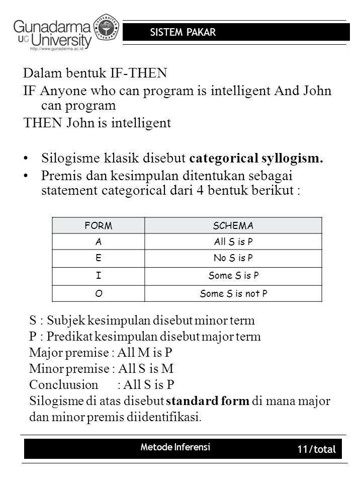SISTEM PAKAR Metode Inferensi 11/total Dalam bentuk IF-THEN IF Anyone who can program is intelligent And John can program THEN John is intelligent Sil