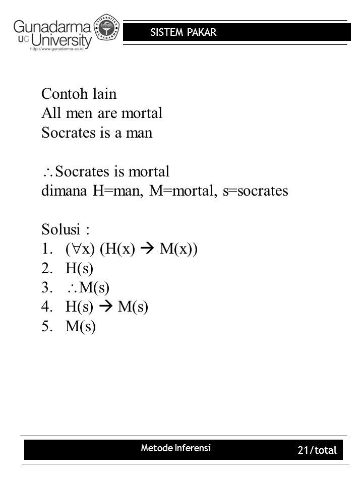 SISTEM PAKAR Metode Inferensi 21/total Contoh lain All men are mortal Socrates is a man  Socrates is mortal dimana H=man, M=mortal, s=socrates Solusi