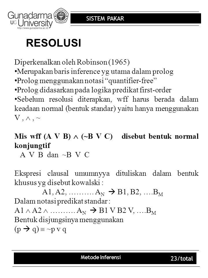 SISTEM PAKAR Metode Inferensi 23/total RESOLUSI Diperkenalkan oleh Robinson (1965) Merupakan baris inference yg utama dalam prolog Prolog menggunakan