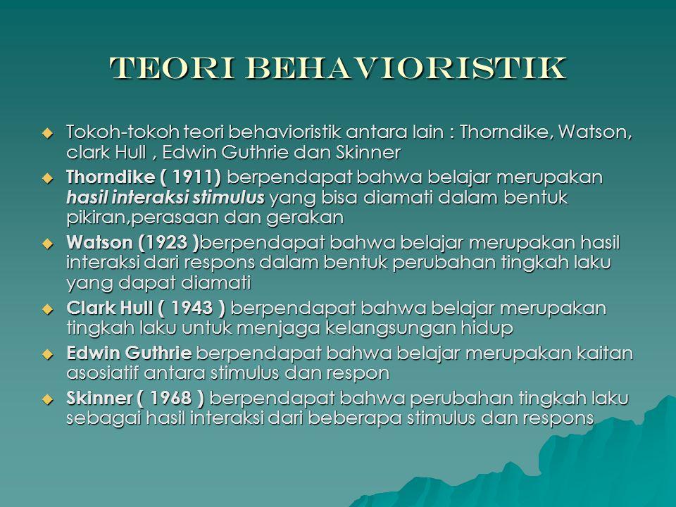 Teori Behavioristik  Tokoh-tokoh teori behavioristik antara lain : Thorndike, Watson, clark Hull, Edwin Guthrie dan Skinner  Thorndike ( 1911) berpe