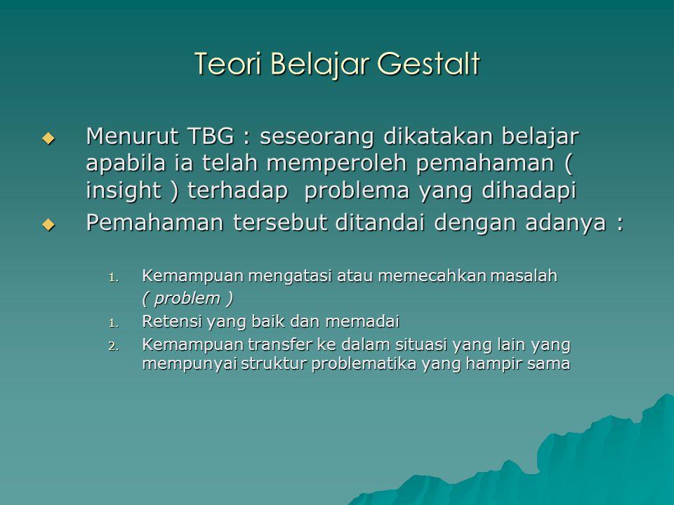 Teori Belajar Gestalt  Menurut TBG : seseorang dikatakan belajar apabila ia telah memperoleh pemahaman ( insight ) terhadap problema yang dihadapi 