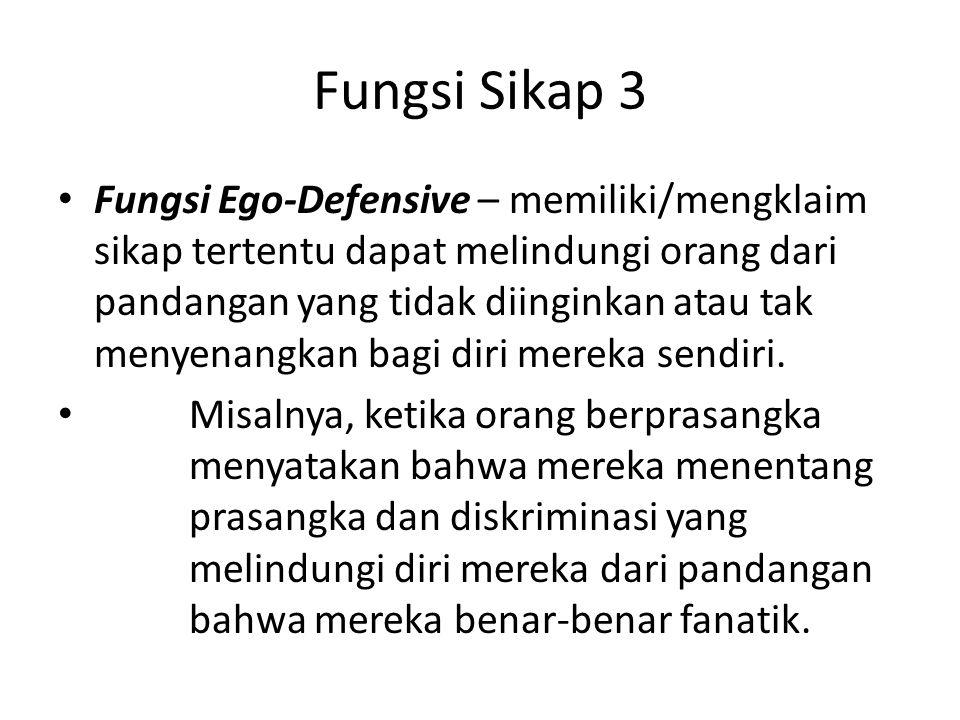 Fungsi Sikap 3 Fungsi Ego-Defensive – memiliki/mengklaim sikap tertentu dapat melindungi orang dari pandangan yang tidak diinginkan atau tak menyenang