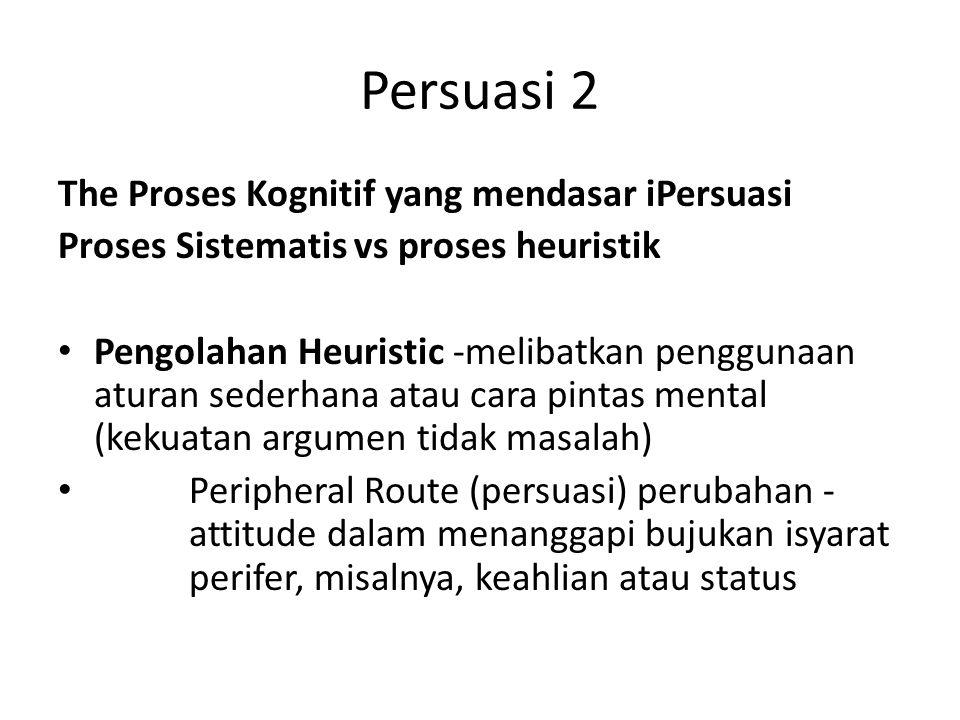 Persuasi 2 The Proses Kognitif yang mendasar iPersuasi Proses Sistematis vs proses heuristik Pengolahan Heuristic -melibatkan penggunaan aturan sederh