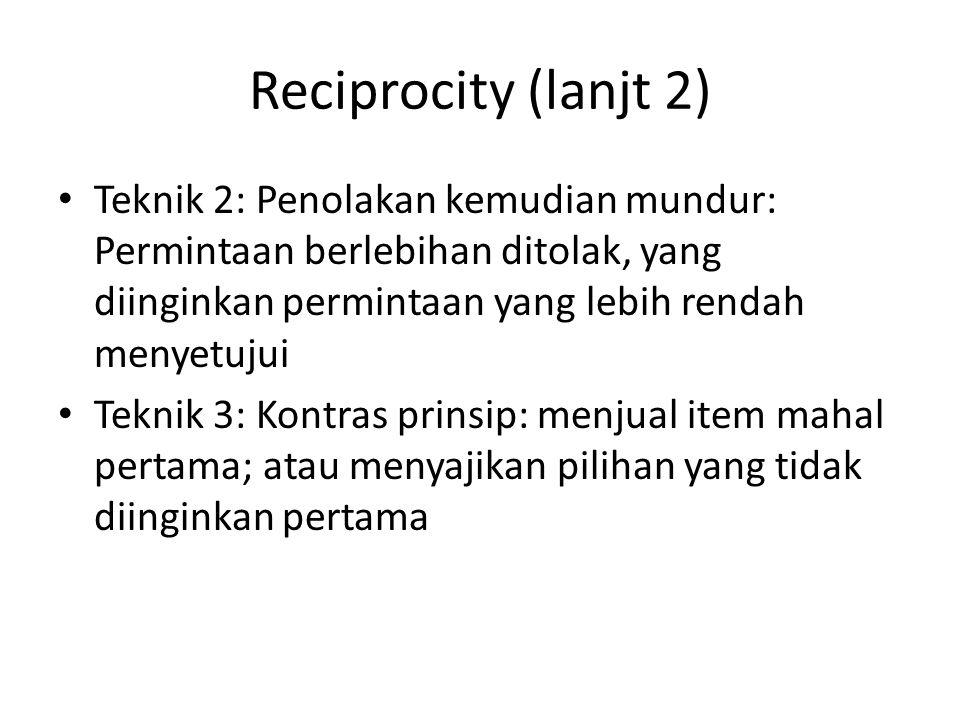 Reciprocity (lanjt 2) Teknik 2: Penolakan kemudian mundur: Permintaan berlebihan ditolak, yang diinginkan permintaan yang lebih rendah menyetujui Tekn