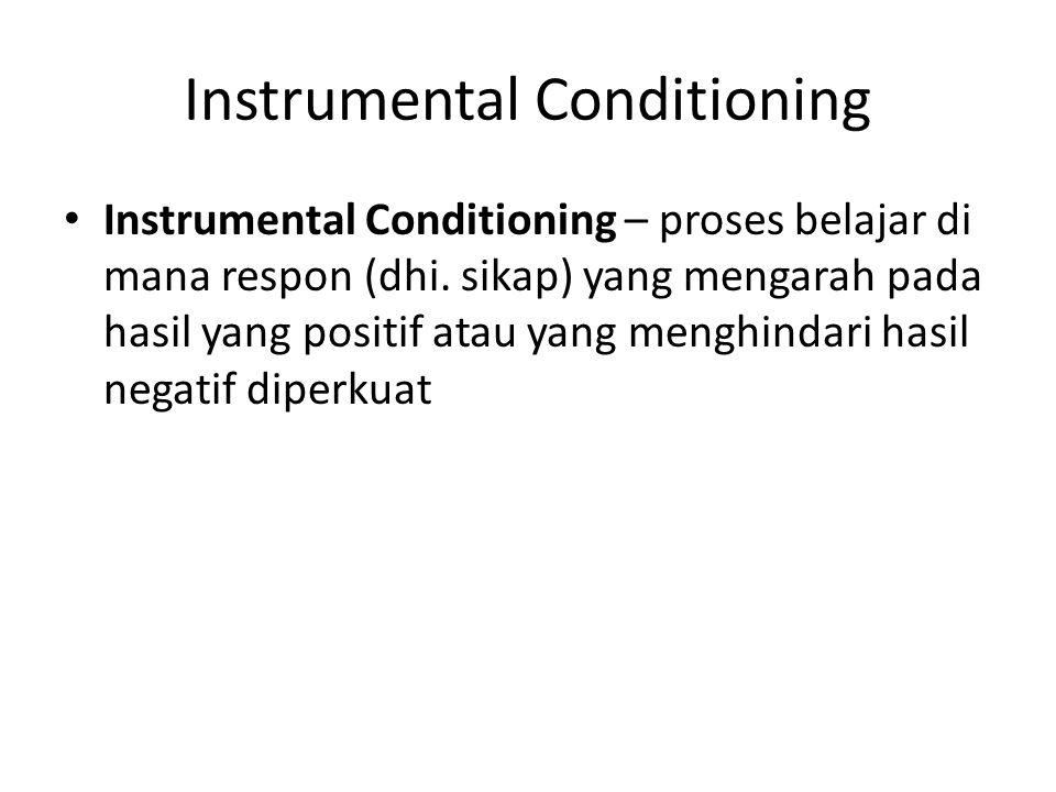 Instrumental Conditioning Instrumental Conditioning – proses belajar di mana respon (dhi. sikap) yang mengarah pada hasil yang positif atau yang mengh