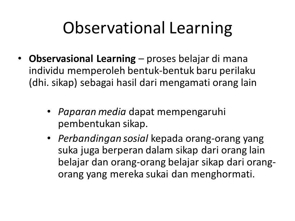 Observational Learning Observasional Learning – proses belajar di mana individu memperoleh bentuk-bentuk baru perilaku (dhi. sikap) sebagai hasil dari