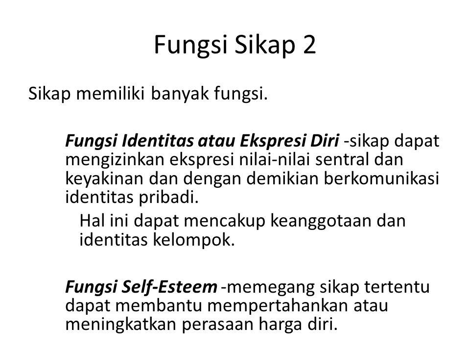 Fungsi Sikap 2 Sikap memiliki banyak fungsi. Fungsi Identitas atau Ekspresi Diri -sikap dapat mengizinkan ekspresi nilai-nilai sentral dan keyakinan d