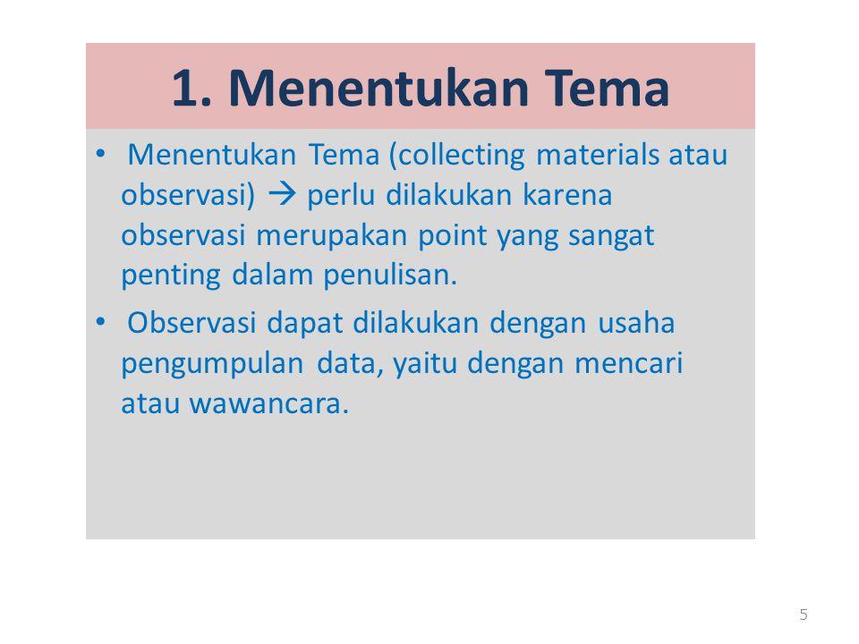 1. Menentukan Tema Menentukan Tema (collecting materials atau observasi)  perlu dilakukan karena observasi merupakan point yang sangat penting dalam