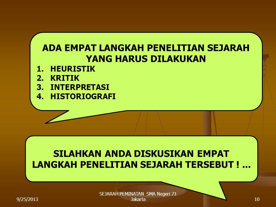 CONTOH FILM DAN GAMBAR DI ATAS MERUPAKAN LANGKAH AWAL DARI PENELITIAN SEJARAH. 9/25/20139 SEJARAH PEMINATAN SMA Negeri 71 Jakarta