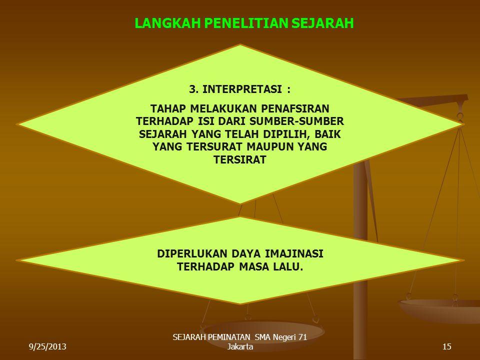 9/25/201314 SEJARAH PEMINATAN SMA Negeri 71 Jakarta