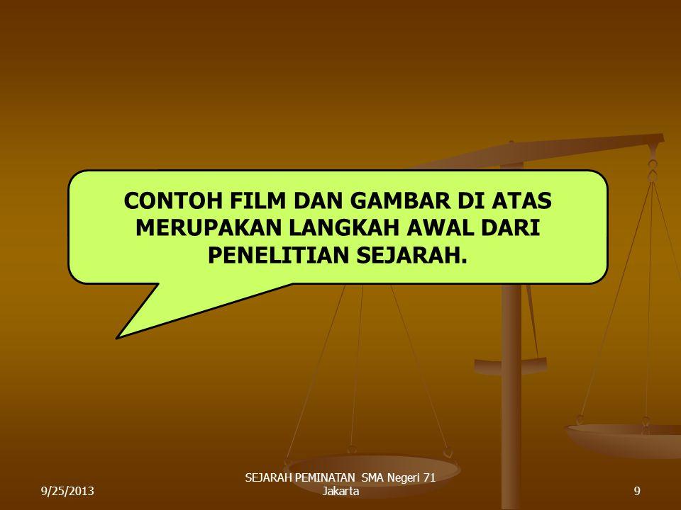 DEMONTRASI MAHASISWA MENDUDUKI GEDUNG MPR/DPR IMAM PRASEDJO SOSIOLOG DOSEN UI IMAM PRASEDJO SOSIOLOG DOSEN UI 9/25/20138 SEJARAH PEMINATAN SMA Negeri 71 Jakarta