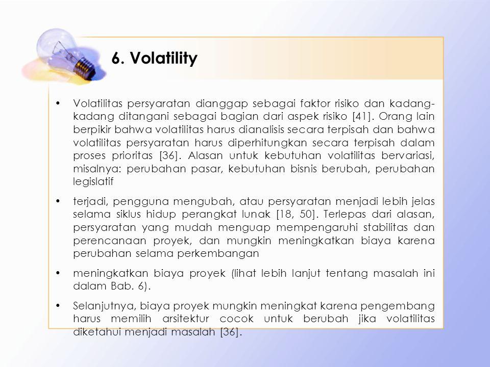 6. Volatility Volatilitas persyaratan dianggap sebagai faktor risiko dan kadang- kadang ditangani sebagai bagian dari aspek risiko [41]. Orang lain be