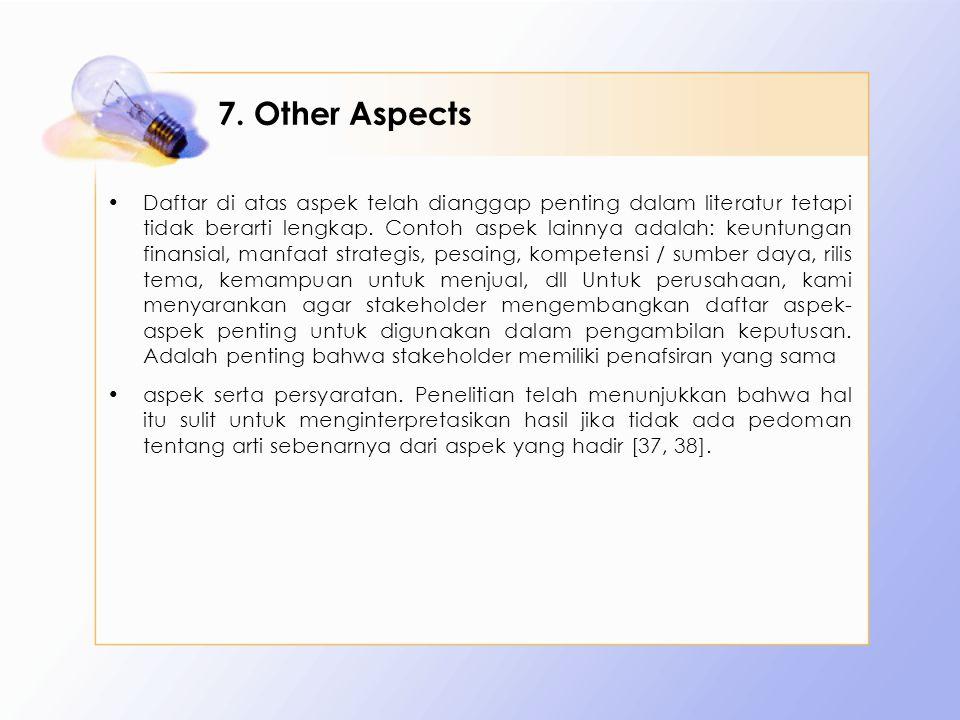 7. Other Aspects Daftar di atas aspek telah dianggap penting dalam literatur tetapi tidak berarti lengkap. Contoh aspek lainnya adalah: keuntungan fin