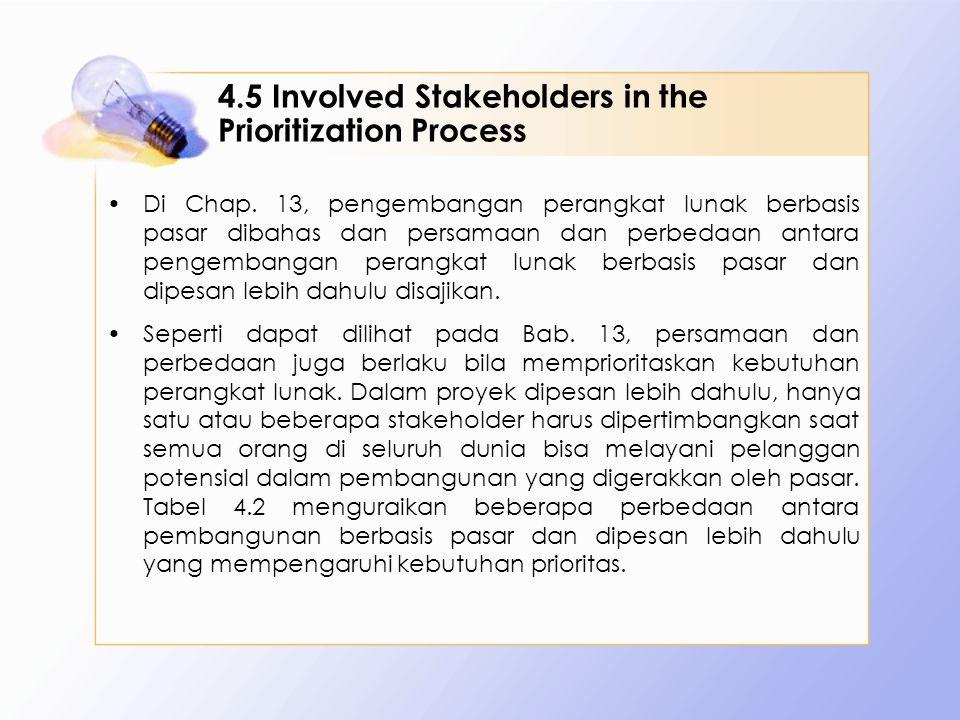 4.5 Involved Stakeholders in the Prioritization Process Di Chap. 13, pengembangan perangkat lunak berbasis pasar dibahas dan persamaan dan perbedaan a