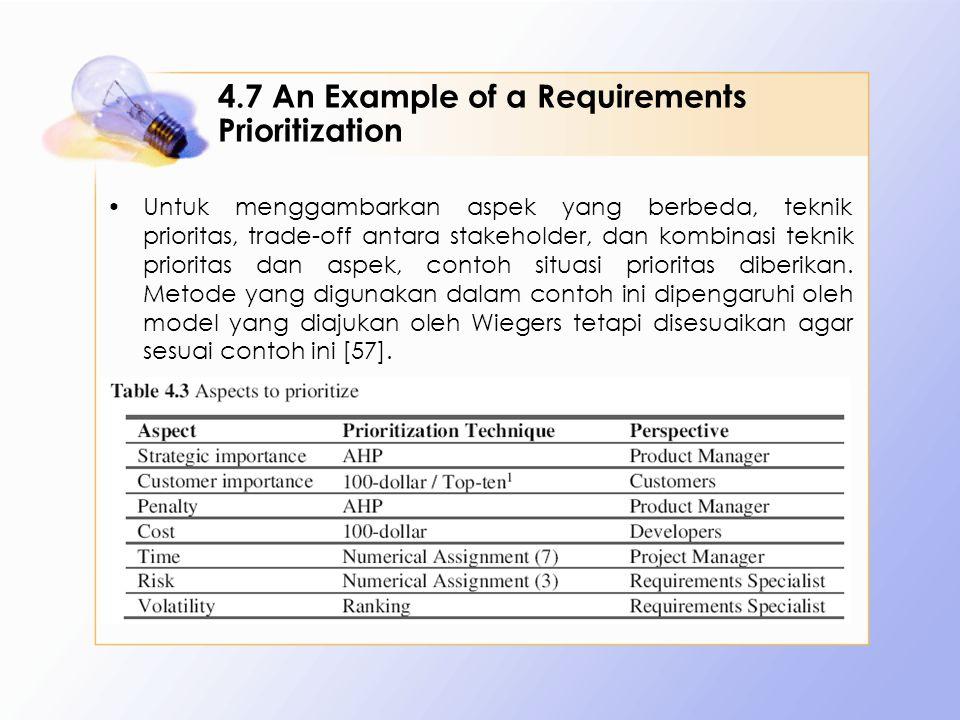 4.7 An Example of a Requirements Prioritization Untuk menggambarkan aspek yang berbeda, teknik prioritas, trade-off antara stakeholder, dan kombinasi