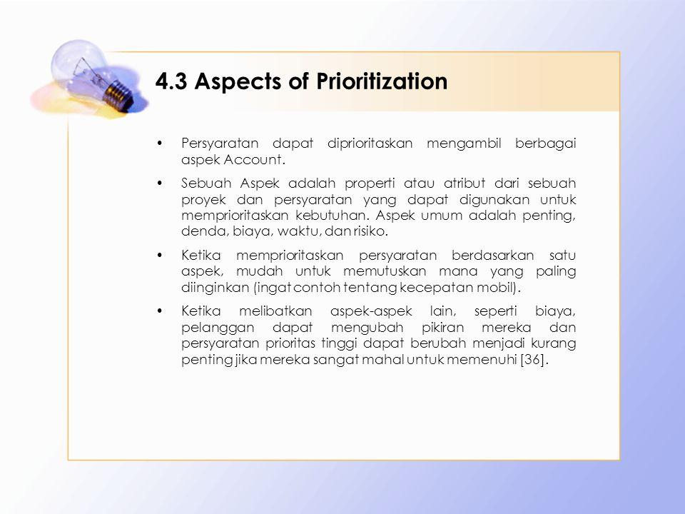 4.3 Aspects of Prioritization Persyaratan dapat diprioritaskan mengambil berbagai aspek Account. Sebuah Aspek adalah properti atau atribut dari sebuah