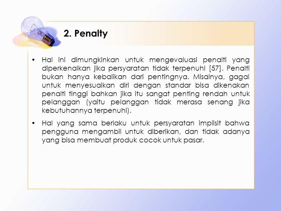 2. Penalty Hal ini dimungkinkan untuk mengevaluasi penalti yang diperkenalkan jika persyaratan tidak terpenuhi [57]. Penalti bukan hanya kebalikan dar
