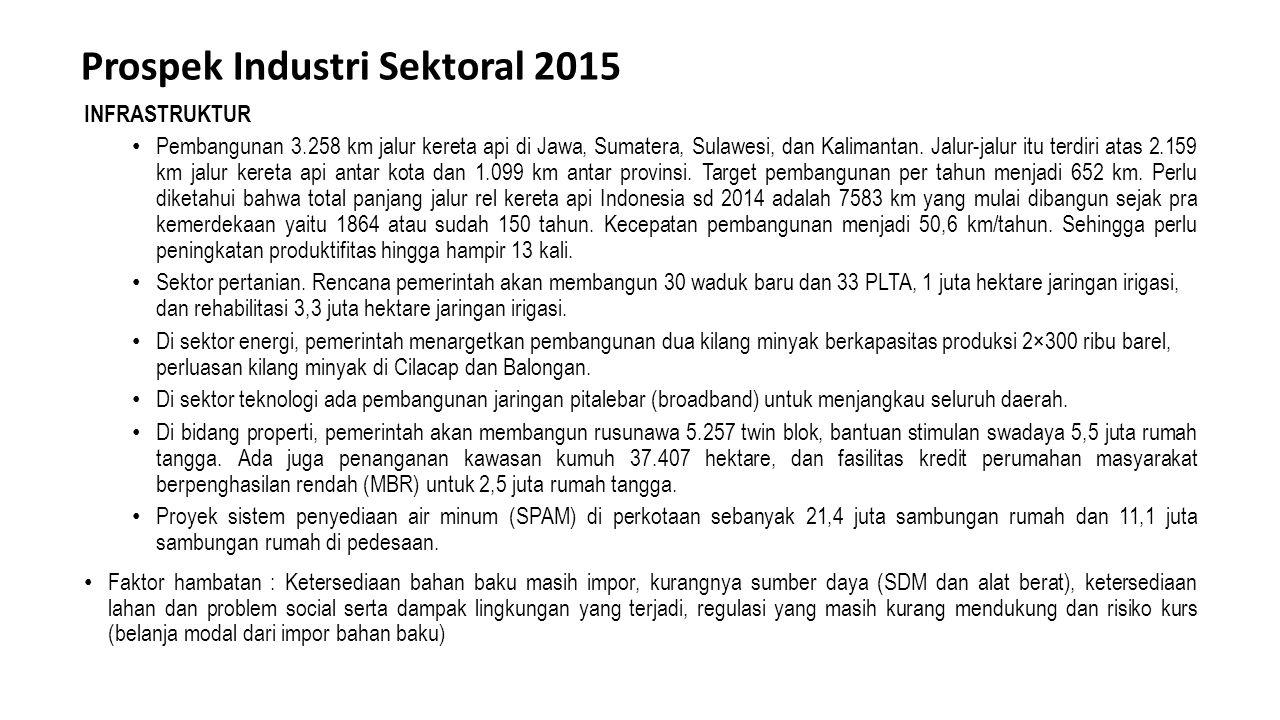 Prospek Industri Sektoral 2015 INFRASTRUKTUR Pembangunan 3.258 km jalur kereta api di Jawa, Sumatera, Sulawesi, dan Kalimantan. Jalur-jalur itu terdir