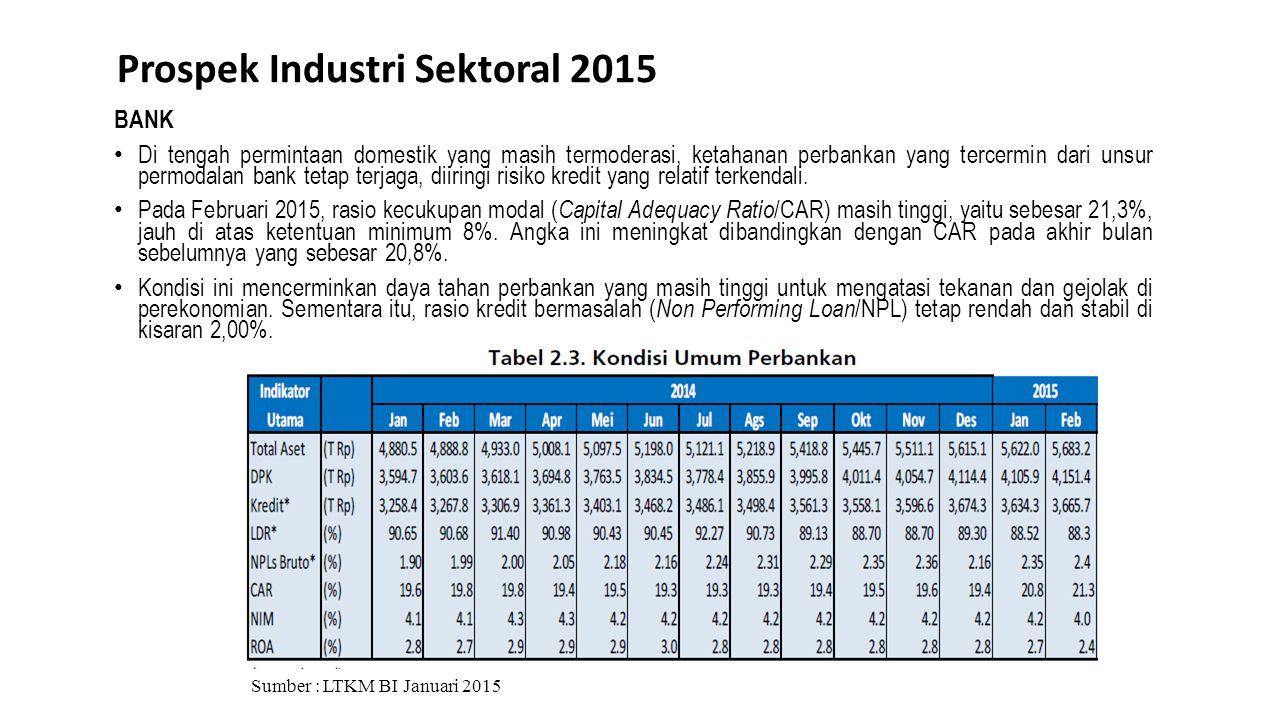 Prospek Industri Sektoral 2015 Sumber : LTKM BI Januari 2015 BANK Di tengah permintaan domestik yang masih termoderasi, ketahanan perbankan yang terce