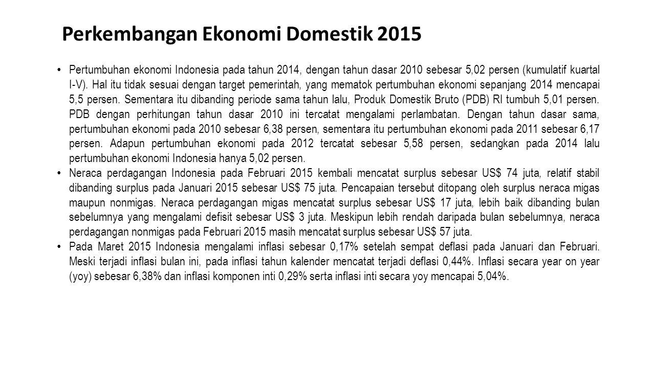 Perkembangan Ekonomi Domestik 2015 Pertumbuhan ekonomi Indonesia pada tahun 2014, dengan tahun dasar 2010 sebesar 5,02 persen (kumulatif kuartal I-V).