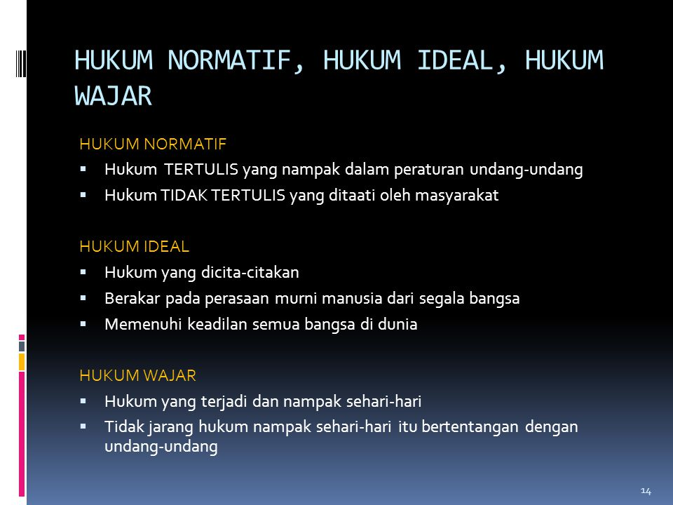 HUKUM NORMATIF, HUKUM IDEAL, HUKUM WAJAR HUKUM NORMATIF  Hukum TERTULIS yang nampak dalam peraturan undang-undang  Hukum TIDAK TERTULIS yang ditaati