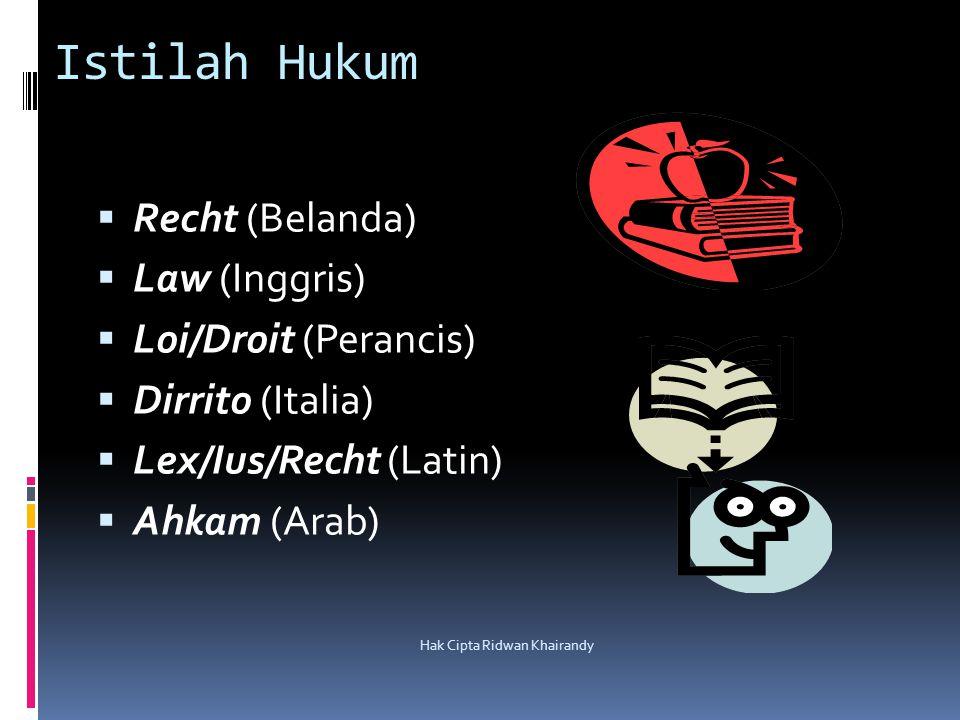 Hak Cipta Ridwan Khairandy Istilah Hukum  Recht (Belanda)  Law (Inggris)  Loi/Droit (Perancis)  Dirrito (Italia)  Lex/Ius/Recht (Latin)  Ahkam (