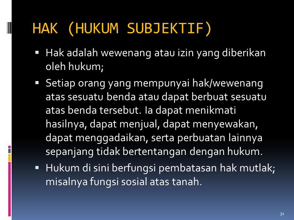 HAK (HUKUM SUBJEKTIF)  Hak adalah wewenang atau izin yang diberikan oleh hukum;  Setiap orang yang mempunyai hak/wewenang atas sesuatu benda atau da