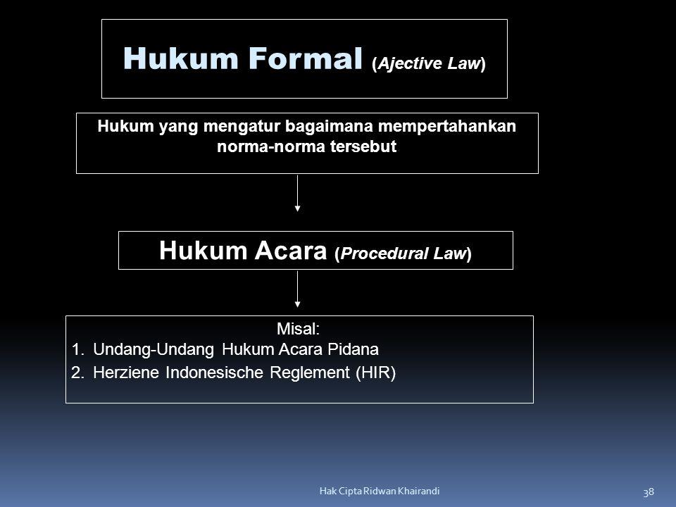 38 Hak Cipta Ridwan Khairandi Hukum Formal (Ajective Law) Hukum yang mengatur bagaimana mempertahankan norma-norma tersebut Hukum Acara (Procedural La