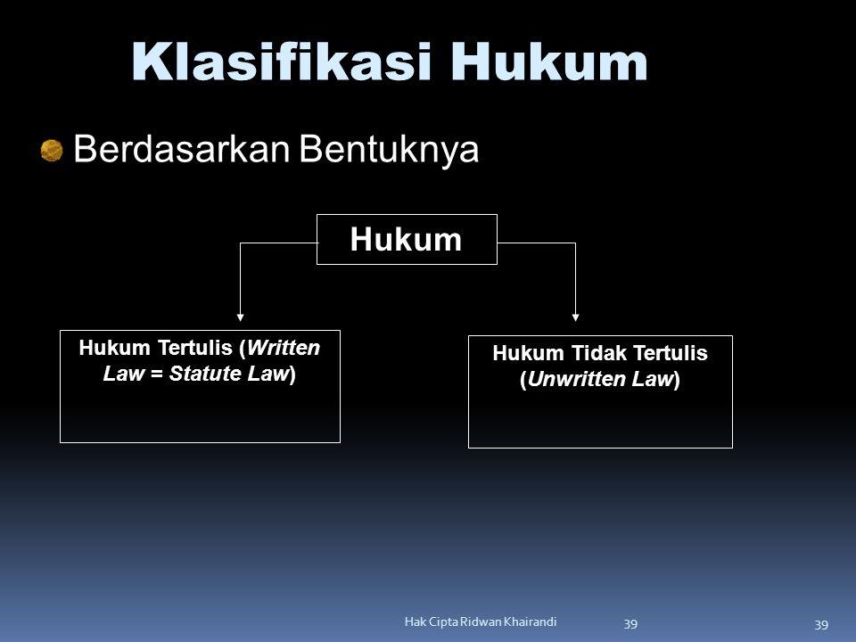 39 Hak Cipta Ridwan Khairandi 39 Klasifikasi Hukum Berdasarkan Bentuknya Hukum Hukum Tidak Tertulis (Unwritten Law) Hukum Tertulis (Written Law = Stat