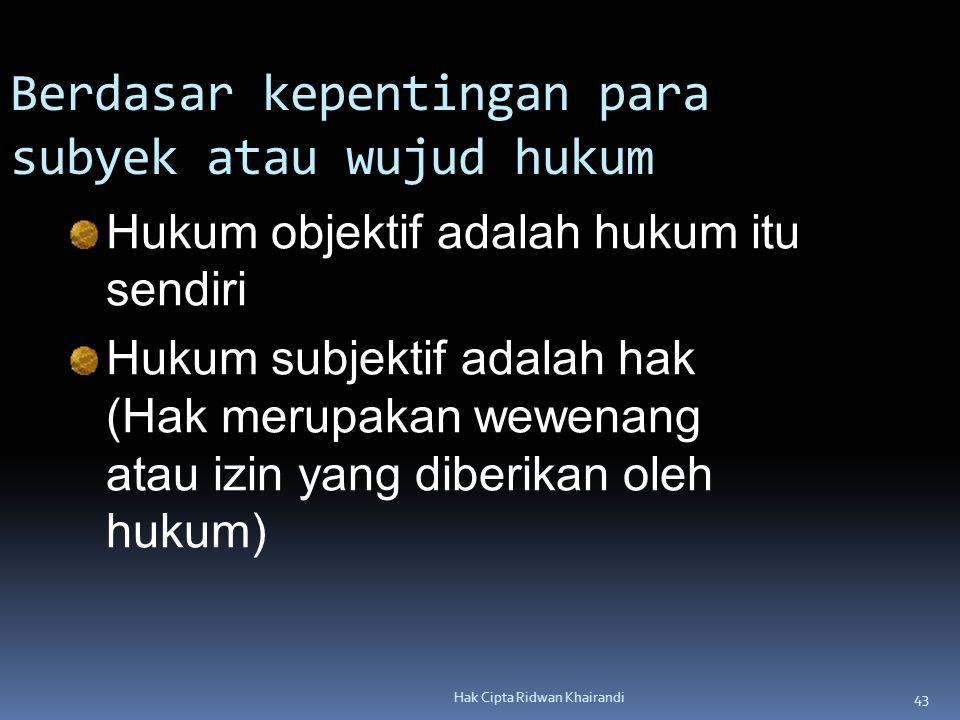 43 Hak Cipta Ridwan Khairandi Hukum objektif adalah hukum itu sendiri Hukum subjektif adalah hak (Hak merupakan wewenang atau izin yang diberikan oleh