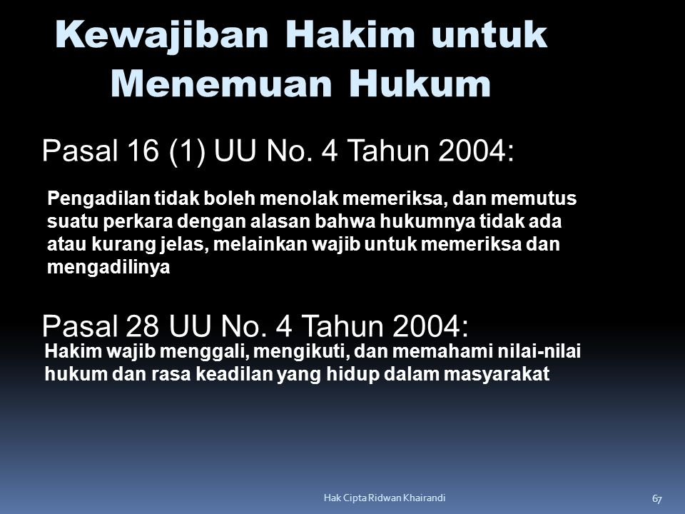 67 Hak Cipta Ridwan Khairandi Kewajiban Hakim untuk Menemuan Hukum Pasal 16 (1) UU No. 4 Tahun 2004: Pasal 28 UU No. 4 Tahun 2004: Pengadilan tidak bo
