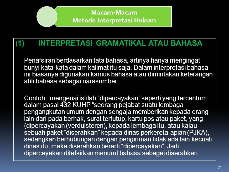 74 Macam-Macam Metode Interpretasi Hukum ( 1)INTERPRETASI GRAMATIKAL ATAU BAHASA Penafsiran berdasarkan tata bahasa, artinya hanya mengingat bunyi kat