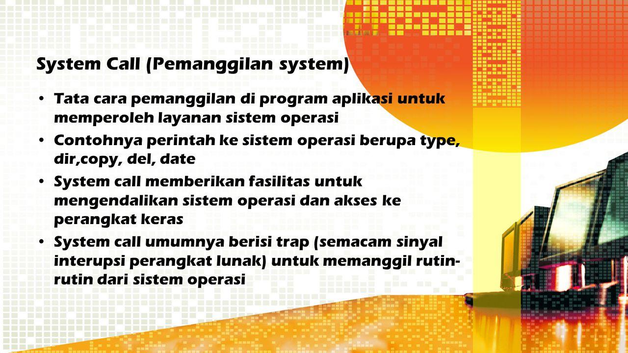 System Call (Pemanggilan system) Tata cara pemanggilan di program aplikasi untuk memperoleh layanan sistem operasi Contohnya perintah ke sistem operas