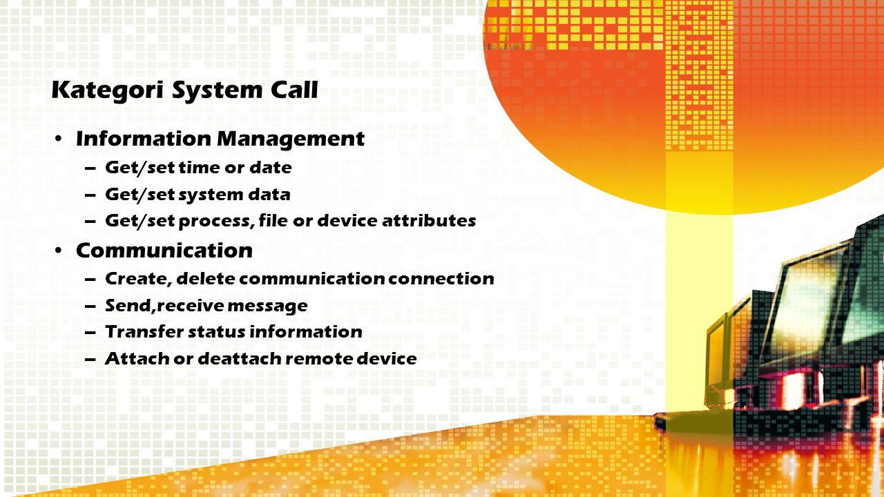 Kategori System Call Information Management –Get/set time or date –Get/set system data –Get/set process, file or device attributes Communication –Crea
