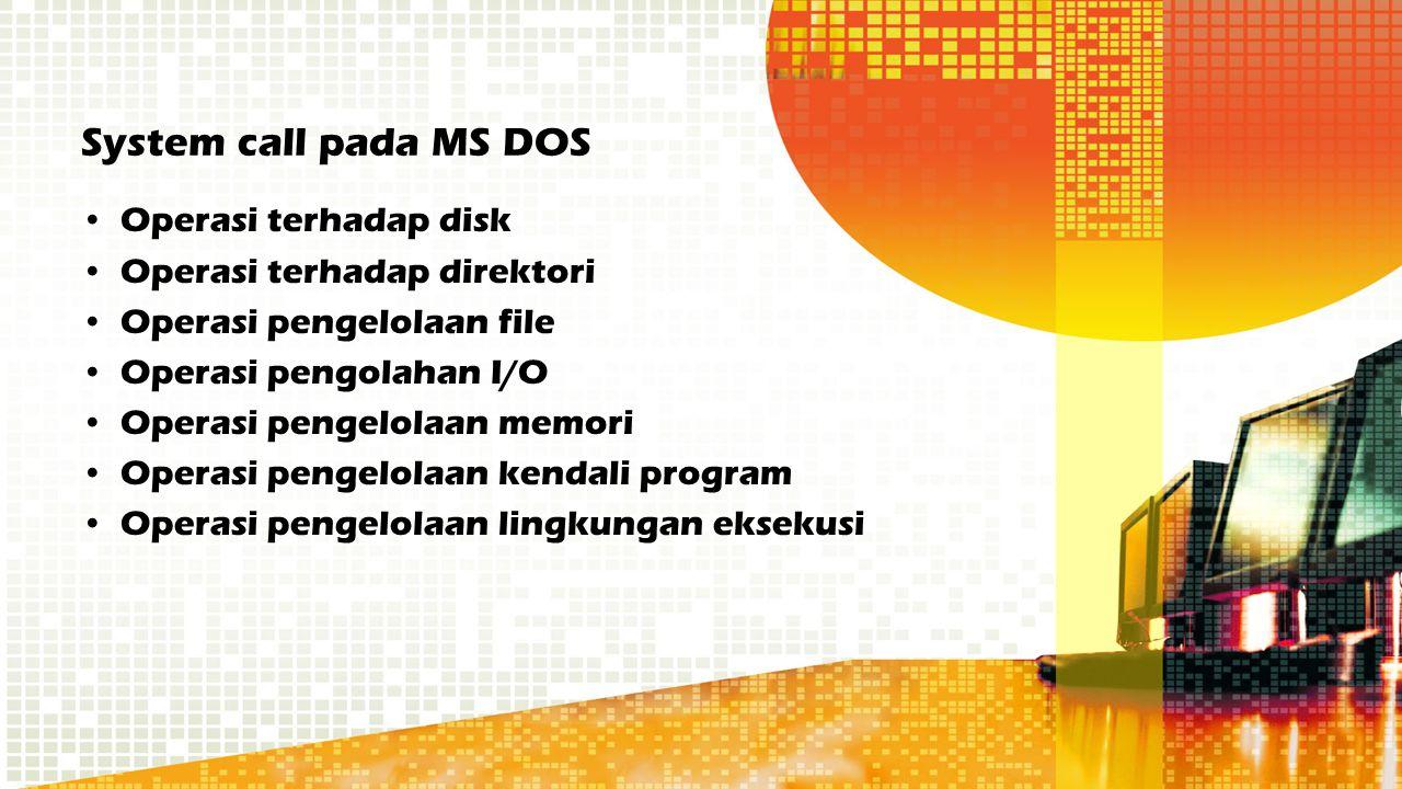 System call pada MS DOS Operasi terhadap disk Operasi terhadap direktori Operasi pengelolaan file Operasi pengolahan I/O Operasi pengelolaan memori Op