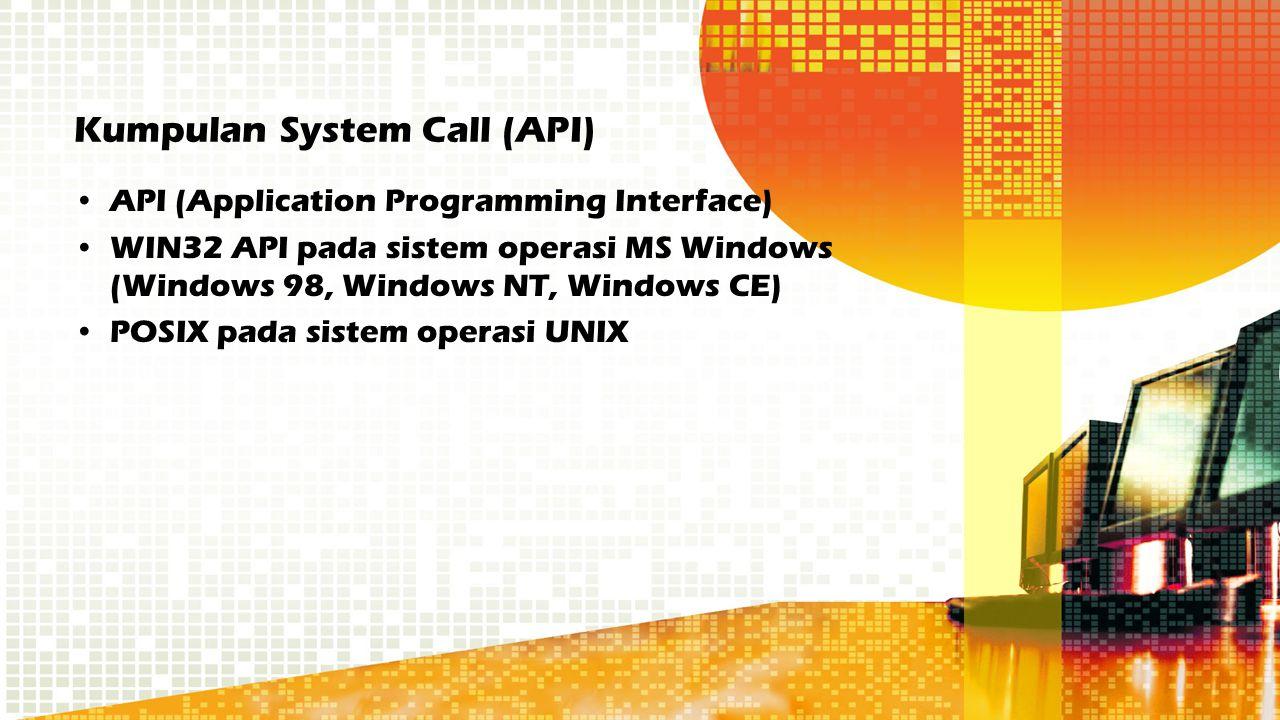 Kumpulan System Call (API) API (Application Programming Interface) WIN32 API pada sistem operasi MS Windows (Windows 98, Windows NT, Windows CE) POSIX