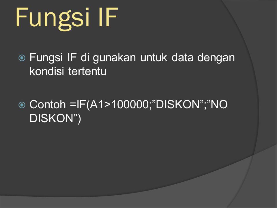 Fungsi IF  Fungsi IF di gunakan untuk data dengan kondisi tertentu  Contoh =IF(A1>100000; DISKON ; NO DISKON )
