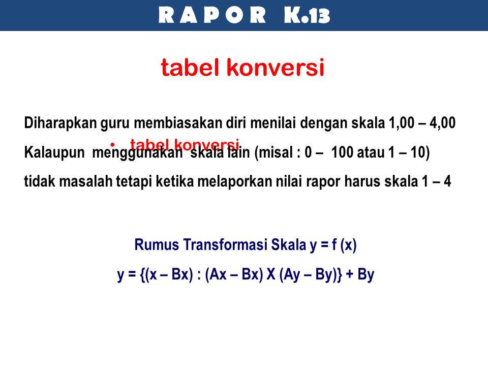 tabel konversi Diharapkan guru membiasakan diri menilai dengan skala 1,00 – 4,00 Kalaupun menggunakan skala lain (misal : 0 – 100 atau 1 – 10) tidak m