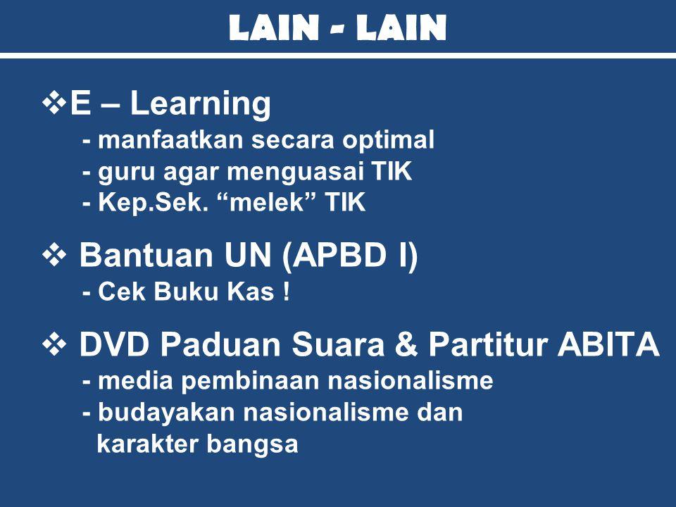 """LAIN - LAIN EE – Learning - manfaatkan secara optimal - guru agar menguasai TIK - Kep.Sek. """"melek"""" TIK  Bantuan UN (APBD I) - Cek Buku Kas !  DVD"""