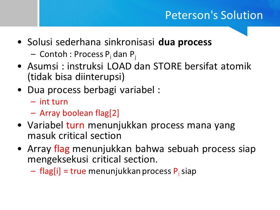 Solusi sederhana sinkronisasi dua process –Contoh : Process P i dan P j Asumsi : instruksi LOAD dan STORE bersifat atomik (tidak bisa diinterupsi) Dua