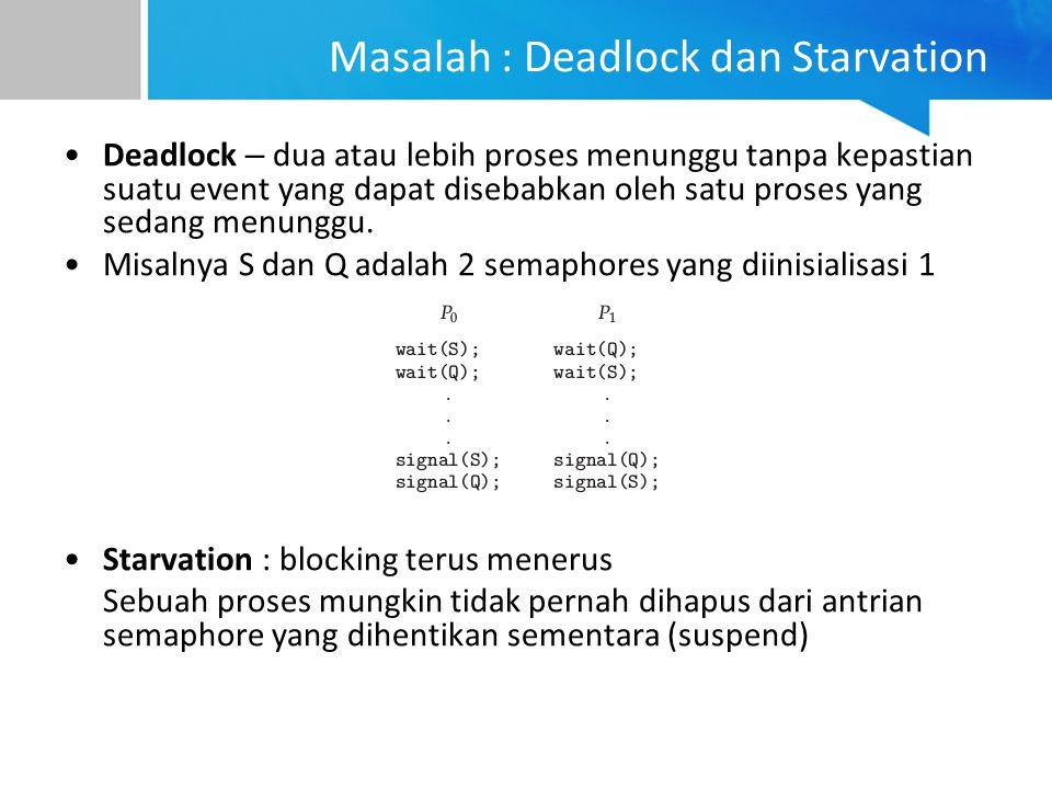 Masalah : Deadlock dan Starvation Deadlock – dua atau lebih proses menunggu tanpa kepastian suatu event yang dapat disebabkan oleh satu proses yang sedang menunggu.