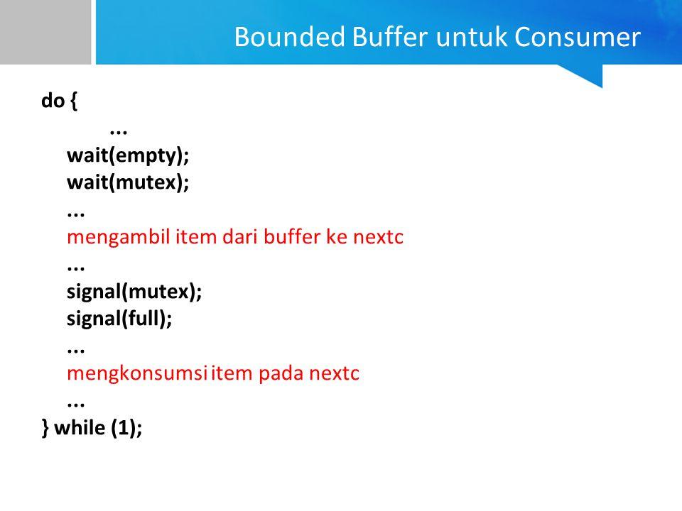 Bounded Buffer untuk Consumer do {... wait(empty); wait(mutex);... mengambil item dari buffer ke nextc... signal(mutex); signal(full);... mengkonsumsi
