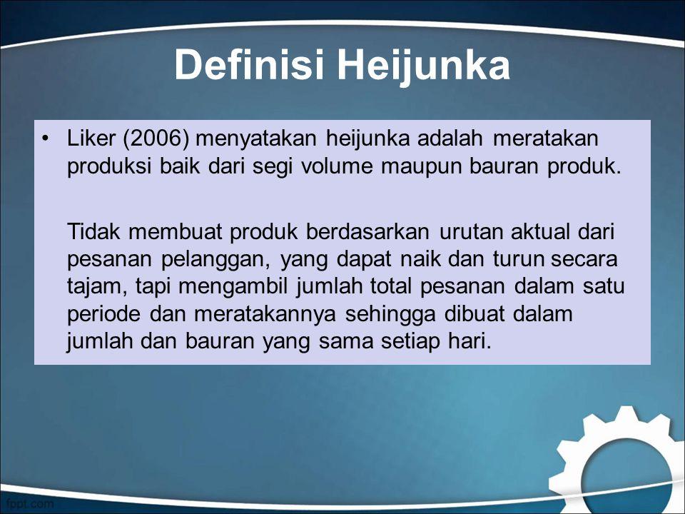 Definisi Heijunka Liker (2006) menyatakan heijunka adalah meratakan produksi baik dari segi volume maupun bauran produk.