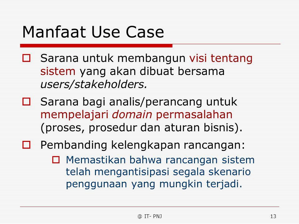 @ IT- PNJ13 Manfaat Use Case  Sarana untuk membangun visi tentang sistem yang akan dibuat bersama users/stakeholders.  Sarana bagi analis/perancang