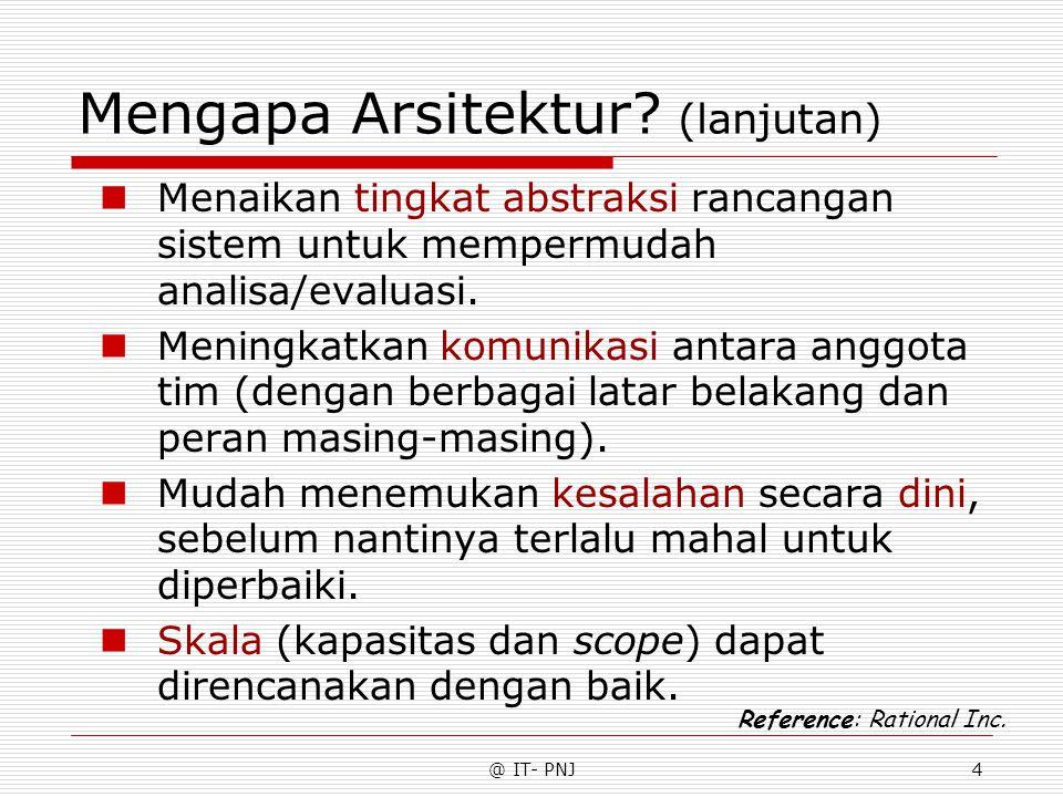 @ IT- PNJ4 Mengapa Arsitektur? (lanjutan) Menaikan tingkat abstraksi rancangan sistem untuk mempermudah analisa/evaluasi. Meningkatkan komunikasi anta