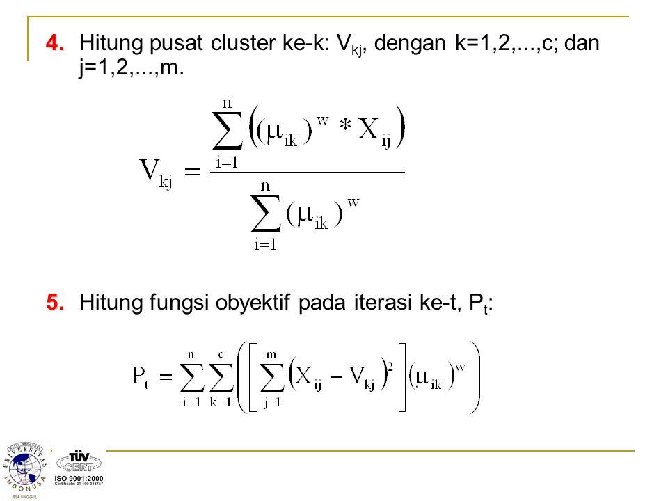4.4.Hitung pusat cluster ke-k: V kj, dengan k=1,2,...,c; dan j=1,2,...,m.